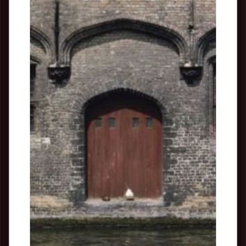 Two Ducks Sit In Doorway That Opens Directly Onto A Canal, framed black wood, white matte
