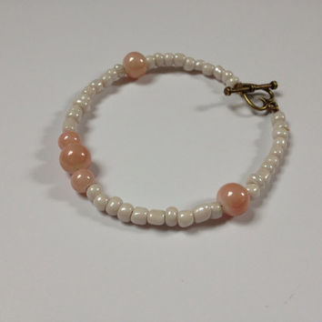 CLEARANCE: Pink and White Bracelet