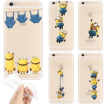 Funny Minions Pattern For iPhone 5S 5 SE 6s 6 7 Plus 7Plus Case Transparent Soft TPU Silicone Cases Phone Back Cover Coque