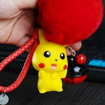 Pocket Monsters Cartoon Anime Leather Braided Rope  Fur KeyChain Small Bells Pikachu Car Bag Key Rings Holder PendantKawaii Pokemon go  AT_89_9