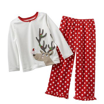 Carter's Reindeer Fleece Pajama Top & Pants Set - Girls