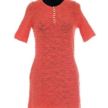 Vintage 1970s 100% Wool Crocheted Sweater Knit Dress Coral Ladybug S