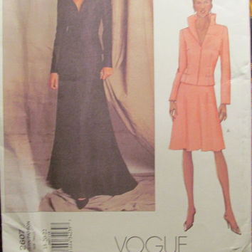 Sale Uncut Vogue Sewing Pattern, 2607! 18-20-22 XL/XXL/Plus/Women's/Misses Stand up Collar Jackets/Long or Short Skirts/Shoulder Padded Jack