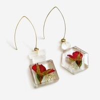 Mismatched Dangle Earrings, Red Rose Bottle Earrings, Pressed Flower Jewelry, Gift for Her