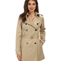 Sam Edelman Double Breasted Trench w/ Vegan Leather Trim