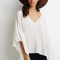 Floral-Embroidered Dolman Top