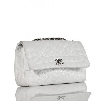 Chanel White Lady Graphic Lambskin Flap Bag