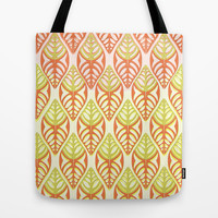 Double Lemon and Oranges - Graphic Leaf Motif Tote Bag by RunnyCustard Illustration