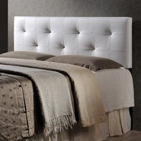 Baxton Studio Kirchem Upholstered White Full Headboard - Walmart.com