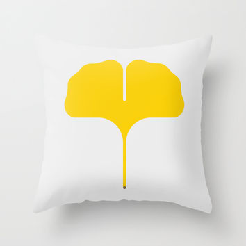 Ginkgo Leaf Throw Pillow by Christopher Dina