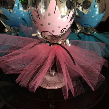 Princess Queen Crown Wine Glass with Tutu Skirt