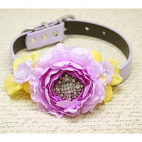 Lilac and Yellow Wedding Dog Collar, Lavender Yellow Flowers, Lavender Wedding