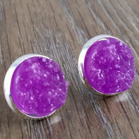 Druzy earrings- purple silver tone stud druzy earrings