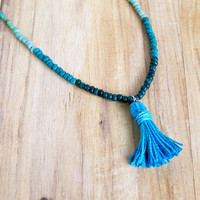 aqua tassel necklace, beaded necklace, long necklace, blue, boho, bohemian