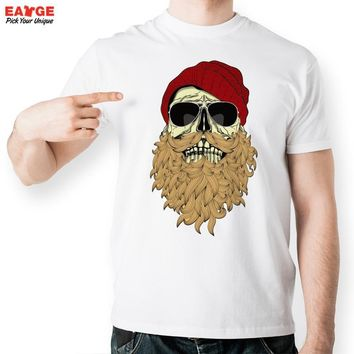Top Fashion Full Beard Skull Punk With Sunglasses T-shirt Cool Top Tshirt Design Novelty Printed Tee Men Brand T Shirt