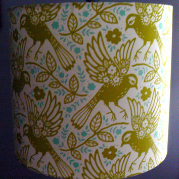 Meadow Lark Drum Lamp Shade, Chartreuse and Teal