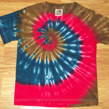 Kids Tie Dye Shirt- XS S M L,  Dark Spiral tie dye, made to order