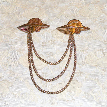 Vintage Sweater Guard Holder Triple Strand Gold Tone Lady in Large Hat Motif Sweater Guard Pin