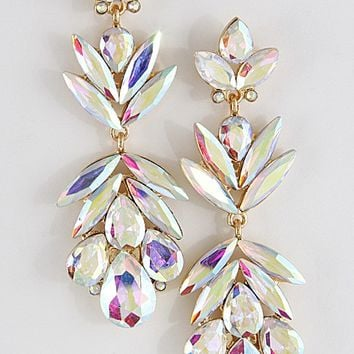 Rhinestone Cluster Earrings- AB Crystal