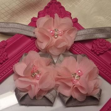 Gray and Pink Chiffon Headband and Barefoot Sandals Set