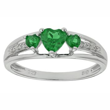 .70 Ct Triple Heart Green Emerald and .018 cttw Diamond 10K White Gold Ring