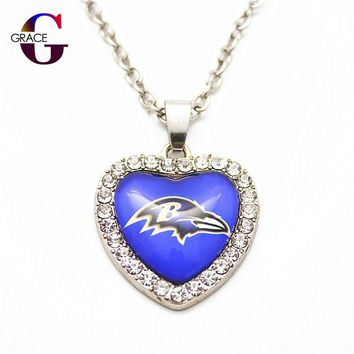 Baltimore Ravens Football Sports Charms Heart Crystal Necklace