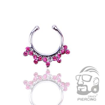 Fake Clip On Septum Clicker Hanger Non Piercing Nose Ring Hoop Silver Pink CZ Fashion Body Jewelry