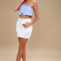 Anson Light Blue Striped Strapless Crop Top