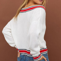 V-neck Sweater - White - Ladies | H&M US