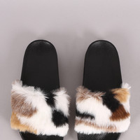Multicolor Plush Faux Fur Slide Sandal
