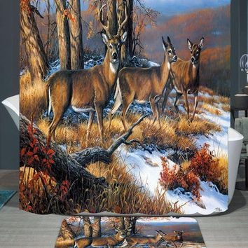 PEAP78W 180*150cm 1Pcs Shower Curtains Snowfield Deer Design Water Resistance Fabric Polyester Waterproof Home Bathroom Curtains Rug Set