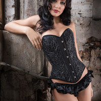 Lavinia overbust corset - elegant black corsetry with silver Italian lace overlay, sweetheart Victorian corset, over bust historical corsets