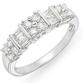 1/2 Carat Round and Baguette Diamond 14K White Gold Ring