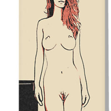 'Hot redhead girl posing, nude erotic, curvy body' Greeting Card by sexyjustsexy