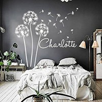 Personalized Name Wall Decals Dandelion Wall Decals Stickers Kids Vinyl Decal For Girl Nursery Bedroom MN1013 (18x20)