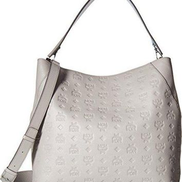 ONETOW MCM Womens Klara Monogrammed Leather Large Hobo