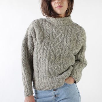 Vintage 80s Gray Cable Knit Oversized Wool Sweater | M