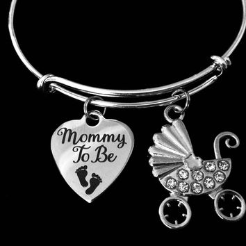 Mommy To Be Jewelry Adjustable Bracelet Silver Expandable Charm Bangle One Size Fits All Gift New Mom