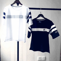 FILA stripe women black white short sleeve top shirt tee H-YF-MLBKS