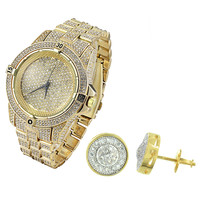 Gold Finish Lab diamonds Iced Out Men's Designer Watch Hip Hop  & Solitaire Earrings Combo Set