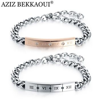Drop Shipping Couple Bracelets Stainless Steel Customize Named Carving Roman Numeral DIY Crystal Lover Bracelets for Women Men