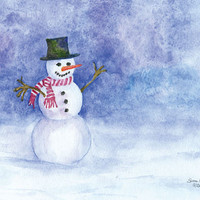 Snowman Watercolor Christmas Blank Note Cards set of 5