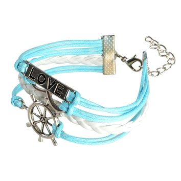 Zodaca Multi-string Leather Bracelet with Metal Charms   Overstock.com Shopping - The Best Deals on Leather Bracelets