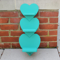 Vertical turquoise wood hearts shelf - Key hanger, turquoise decor, turquoise shelf