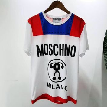 MOSCHINO  Women Fashion Short Sleeve Pure cotton Print Round collar Top