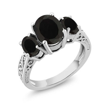 2.41 Ct Oval Natural Black Onyx 925 Silver 3-Stone Women's Ring