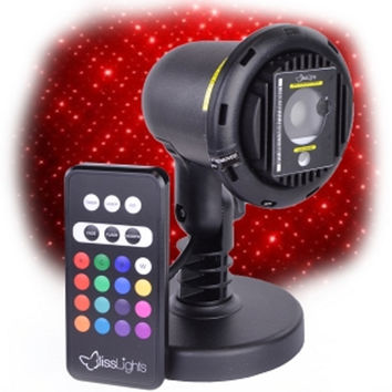BlissLights COM-LR-STN Outdoor/Indoor Firefly Red Laser Light Projector w/16-Color LED Lighting & Remote Control