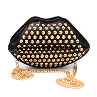 Black and Gold Studded Crossbody Lip Bag