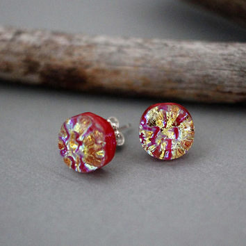 Sterling Silver Earrings Studs - Red Stud Earrings - Dichroic Glass Earrings - Fused Glass Jewelry - Gift For Her - Unique Stud Earrings