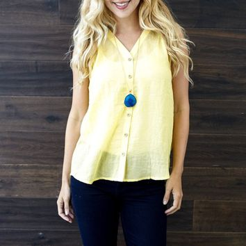 Yellow Linen Button Up Tank Top